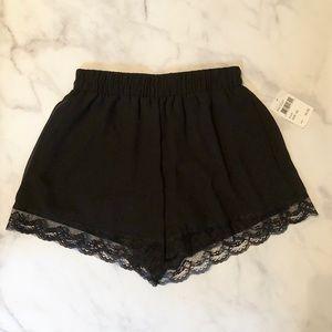 Lush lace trim shorts